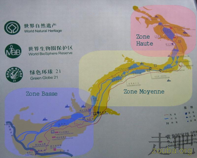 Carte du parc de HuangLong. Cliquez sur les parties en couleurs pour accéder à la partie du site correspondante