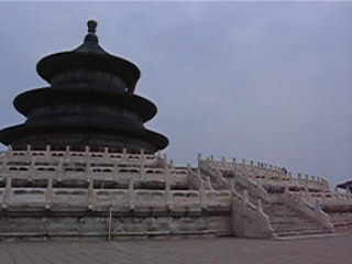 Panoramic video of the main temple of Temple of Heaven. This temple, with its 3-levels roof, is one of the symbol of 	Beijing city
