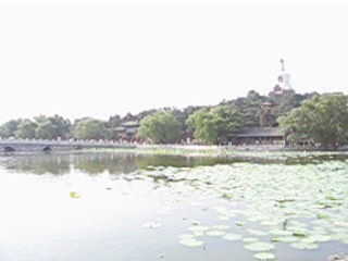 Video taken at the east of the bridge. We can see the central island and the White Pagoda on top.