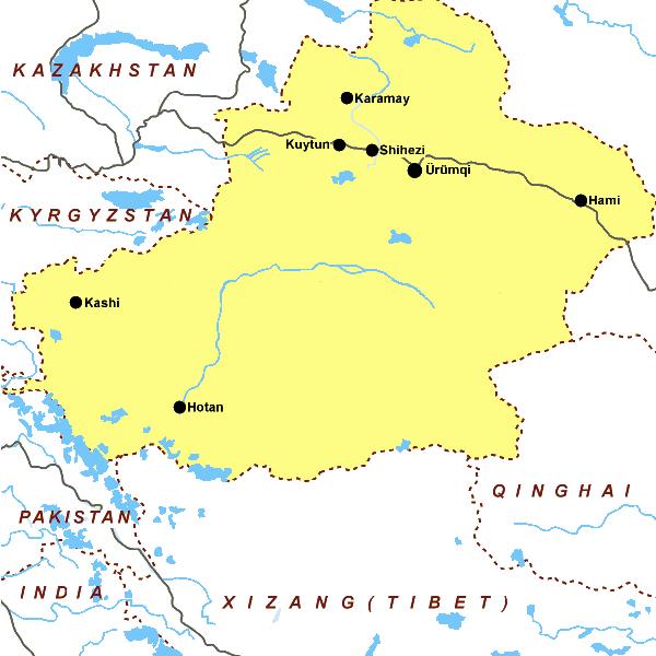 Carte de la province du Xinjiang