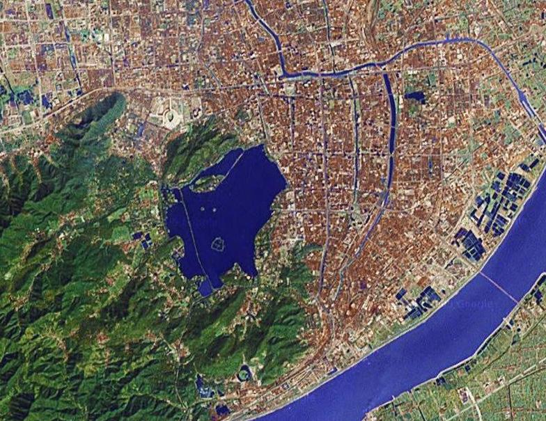 Vue satellite de Hangzhou en Chine sur www.zouba.org